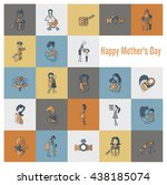 happy mothers day simple flat... | Shutterstock . vector #438185074