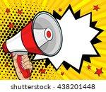 female hand holding megaphone.... | Shutterstock .eps vector #438201448