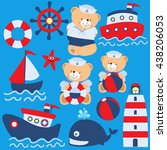 cute teddy bear sailing... | Shutterstock .eps vector #438206053
