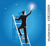 businessman climbs on the... | Shutterstock .eps vector #438210004
