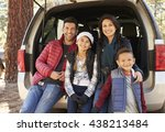 portrait of family sitting in... | Shutterstock . vector #438213484