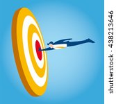 businessman hits the target as... | Shutterstock .eps vector #438213646