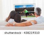 rear view of sportsman throwing ... | Shutterstock . vector #438219310