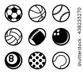 sports balls icons set on white ... | Shutterstock . vector #438235270