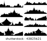 Set of editable vector silhouettes of Buddhist temple complexes - stock vector
