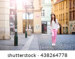 happy young urban woman in... | Shutterstock . vector #438264778