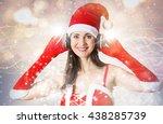 Attractive Woman In Santa...
