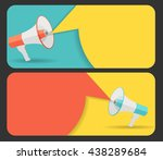hand with megaphone and speech... | Shutterstock .eps vector #438289684