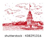 view of maiden's tower on the... | Shutterstock .eps vector #438291316