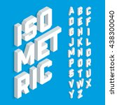 white isometric 3d font  three... | Shutterstock .eps vector #438300040