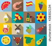 spain icons set  flat style | Shutterstock .eps vector #438302134