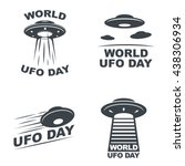 world ufo day. set of four... | Shutterstock .eps vector #438306934