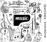 collection of music instruments.... | Shutterstock .eps vector #438313450