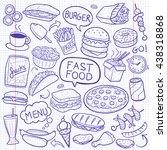 notebook fast food doodle icons ... | Shutterstock .eps vector #438318868