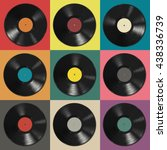 vinyl records with colorful... | Shutterstock .eps vector #438336739