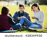 group of teenage friends... | Shutterstock . vector #438349930