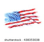 hand drawn watercolor flag of... | Shutterstock . vector #438353038