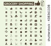 grocery shopping icons | Shutterstock .eps vector #438361108