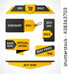 vector stickers  price tag ... | Shutterstock .eps vector #438363703