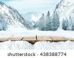 table and free place and snow... | Shutterstock . vector #438388774