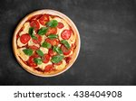 pizza  margherita  on the chalk ... | Shutterstock . vector #438404908