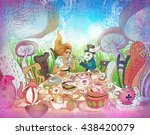 Stock photo mad tea party alice s adventures in wonderland illustration girl white rabbit drink from cups 438420079