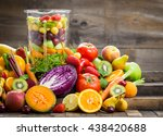fresh fruits and vegetables in... | Shutterstock . vector #438420688