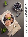 chocolate ice cream with... | Shutterstock . vector #438423118