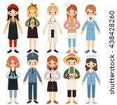 big set of children with... | Shutterstock .eps vector #438428260