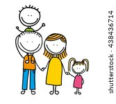 happy family drawing isolated...   Shutterstock .eps vector #438436714