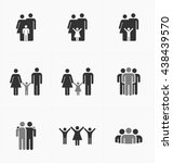 people icon set. team  family ... | Shutterstock .eps vector #438439570
