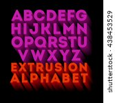 poster extruded alphabet... | Shutterstock .eps vector #438453529