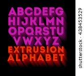 poster extruded alphabet... | Shutterstock .eps vector #438453529