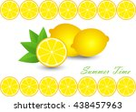 cute set with cartoon lemon and ... | Shutterstock .eps vector #438457963