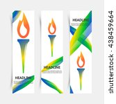 set of flyers with torch vector ... | Shutterstock .eps vector #438459664