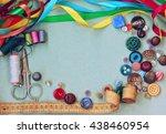 scissors  thread  needle ... | Shutterstock . vector #438460954