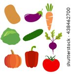 vegetable set without gradients.... | Shutterstock .eps vector #438462700
