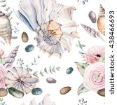 Watercolor Sea Shells Seamless...