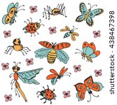 hand drawn set of insects.... | Shutterstock .eps vector #438467398