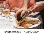 waiter is grating black truffle ... | Shutterstock . vector #438479824