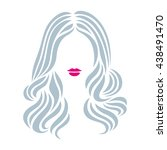 hairstyle sign. beautiful woman ... | Shutterstock .eps vector #438491470