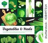 vegetarian food banners... | Shutterstock .eps vector #438497314