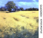 Impressionist landscape painting of an oilseed rapeseed or canola crop in a field. - stock photo