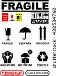 fragile  keep dry  side up ... | Shutterstock .eps vector #438534760