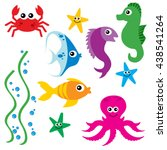 cute vector sea life creatures | Shutterstock .eps vector #438541264