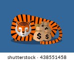 A Tiger Sleep With Money Bag ...