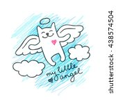 vector cat angel in the sky ... | Shutterstock .eps vector #438574504