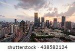modern city skyline at dusk | Shutterstock . vector #438582124