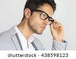 handsome man wearing a pair of... | Shutterstock . vector #438598123