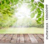 empty wooden table with garden... | Shutterstock . vector #438600499